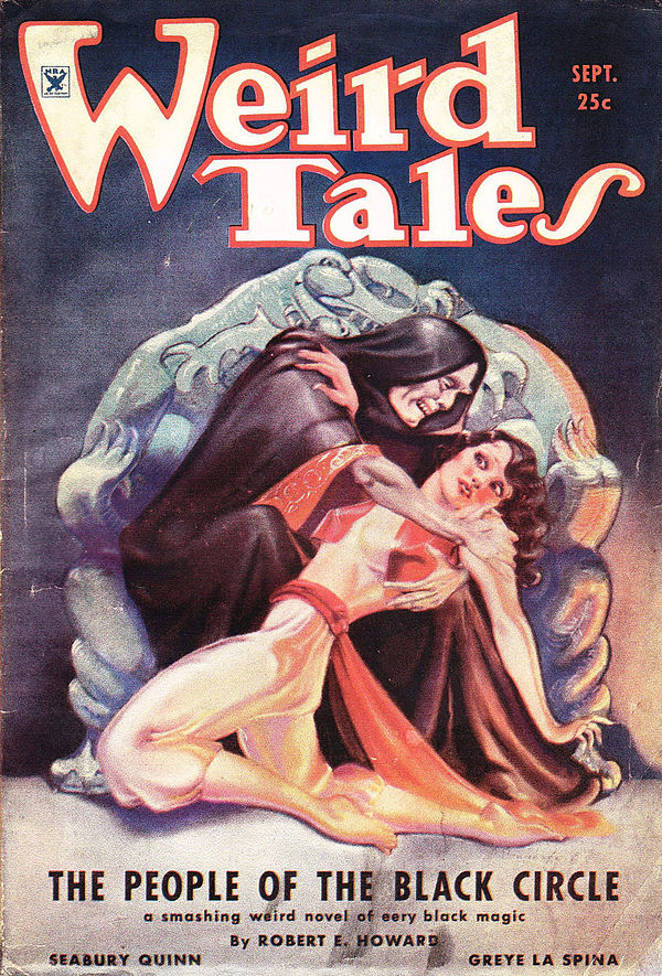 "Painted cover of Weird Tales.  Featuring a man in a black cloak seated on a throne holding a struggling, kneeling woman in oriential-styled clothing.  Caption reads ""The People of the Black Circle; a smashing weird novel of eery black magic; By Robert E. Howard"" with the additional author names ""Seabury Quinn"" and ""Greye La Spina""."