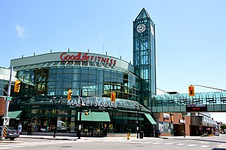 Waterloo County, Ontario - Market Square, an urban mall on the corner of Frederick St. and King St East in Kitchener.