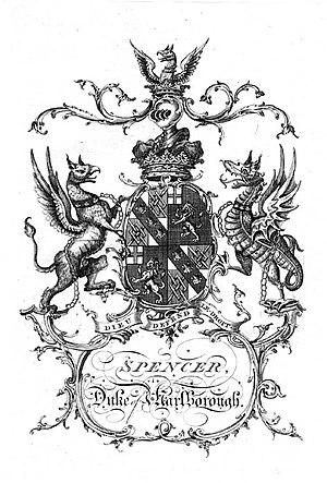 "Spencer family - Simple arms of the Spencer Dukes of Marlborough before they changed their name to ""Spencer-Churchill"" and took the modern arms."