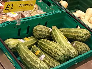 Marrow (vegetable) - Vegetable marrows (distinct from courgettes) on sale in a British supermarket.