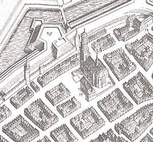 Martinskirche, Kassel - The Martinskirche on a map by Matthäus Merian, 1646