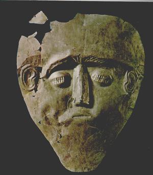 "Grave Circle B, Mycenae - Death mask made of electrum, shaft grave ""Gamma""."