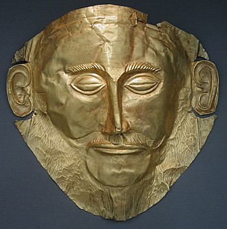 Heinrich Schliemann - The 'Mask of Agamemnon', discovered by Heinrich Schliemann in 1876 at Mycenae now exhibited at the National Archaeological Museum of Athens.