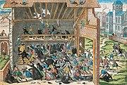 Massacre de Vassy 1562 print by Hogenberg end of 16th century
