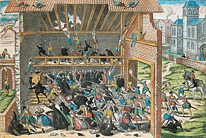 Massacre of Wassy - Massacre de Vassy in 1562, print by Hogenberg end of 16th century.