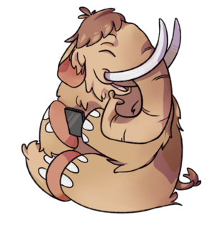Mastodon (software) - Mastodon mascot with a smartphone.