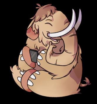 Mastodon (software) - Mastodon mascot with a smartphone.