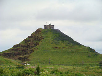 Matukutureia - The eastern side of Matukutūreia, with the (now removed) water tank on the summit.