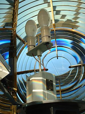 Maughold Head Lighthouse - Fresnel lens and lamp changer at Maughold Head