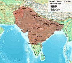Maximum extent of the Maurya Empire, as shown by the location of Ashoka's inscriptions, and visualized by historians: Vincent Arthur Smith;[7] R. C. Majumdar;[8] and historical geographer Joseph E. Schwartzbert.[9]