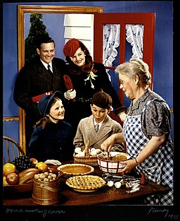 McCall's magazine cover, family arriving in the kitchen for the holidays