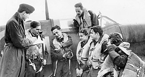 No. 121 Squadron RAF - RAF Intelligence Officer is shown recording comments of American aviators from Eagle Squadron