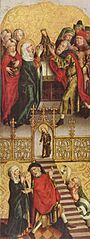 Flügel eines Altares: Tempelgang und Opferung Mariens; Rückseite: Engel der Verkündigung