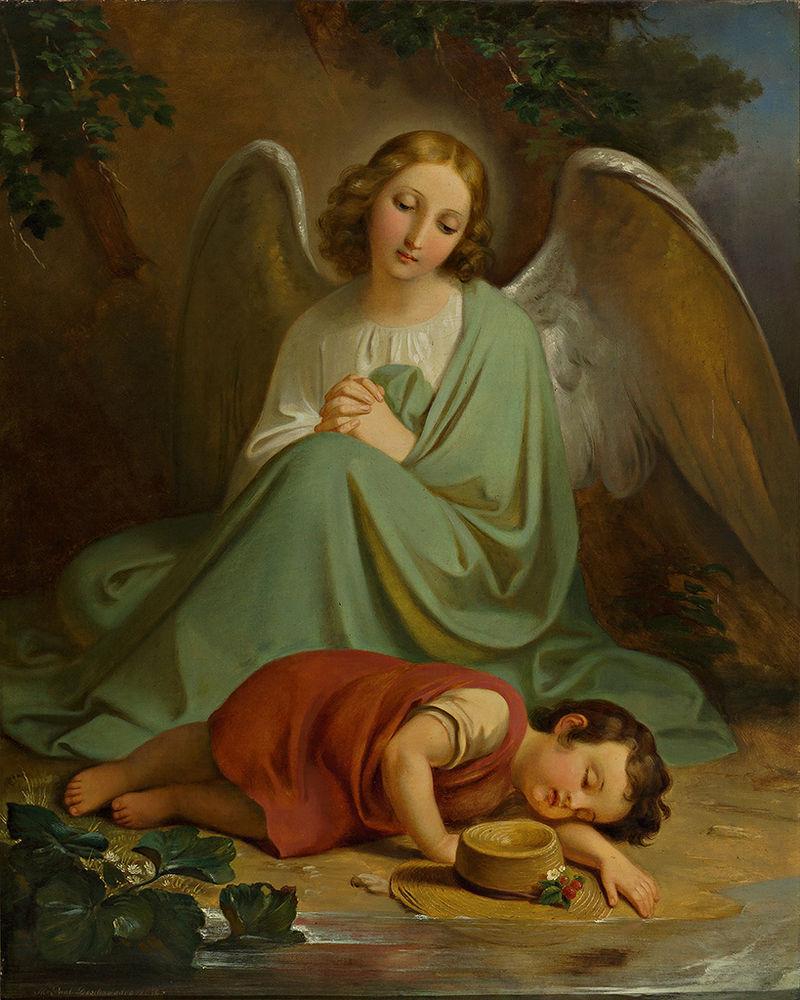 Melchior Paul von Deschwanden Schutzengel bewacht den Schlaf eines Kindes.jpg