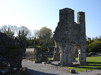 "The now-ruined Mellifont Abbey, the centre of medieval Irish Cistercian monasticism and of the ""Mellifont rebellion"" Mellifont Abbey lavabo County Louth Ireland.JPG"