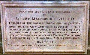 Albert Mansbridge - Memorial to Albert Mansbridge in Gloucester Cathedral