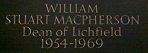 William MacPherson (priest) - Memorial to William Stuart Macphearson in Lichfield Cathedral