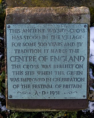 Centre points of the United Kingdom - Plaque on the ancient cross at Meriden, West Midlands, the traditional centre of England