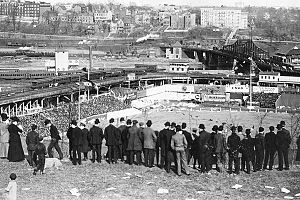 Polo Grounds - Fans on Coogan's Bluff watch the infamous Merkle's Boner game between the Giants and Cubs, September 23, 1908.