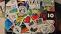 Messy collection of stickers on a Wikidata enthusiast.jpg