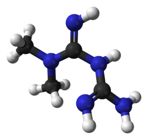 Ball-and-stick model of the metformin molecule...