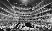 A full house at the old Metropolitan Opera House, seen from the rear of the stage, at the Metropolitan Opera House for a concert by pianist Józef Hofmann, November 28, 1937.