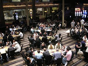 English: Poker Room at the MGMG Grand. Lion Re...