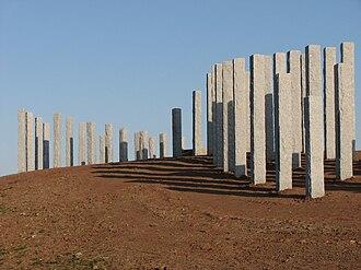 Portland stone - Seafarer's Sculpture (108 pilars in Portland stone), Portishead marina, by Michael Dan Archer.