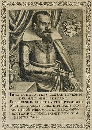 Michael Maier - Copper engraving of Michael Maier, from Symbola avreae mensae dvodecim nationvm. (Matthäus Merian, 1617)