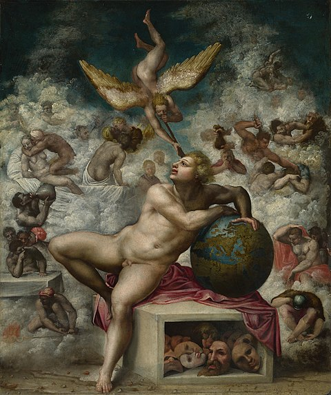 The Dream of Life, by unknown Mannerist painter, ca. 1533 Michelangelo - Dream of Life NG8.jpg
