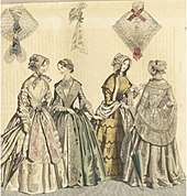The mid-1840s saw day dresses featuring V-shaped necklines, which were covered by a chemise for decency. Skirt widths widened due to the horsehair petticoat, and extra flounces were added for emphasis and decoration.Funnel sleeves.