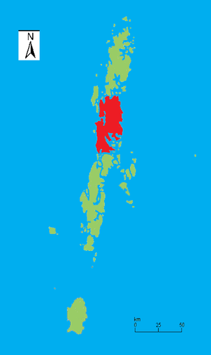 Middle Andaman Island - Outline map of the Andaman Islands, with the location of Middle Andaman Island highlighted (in red).