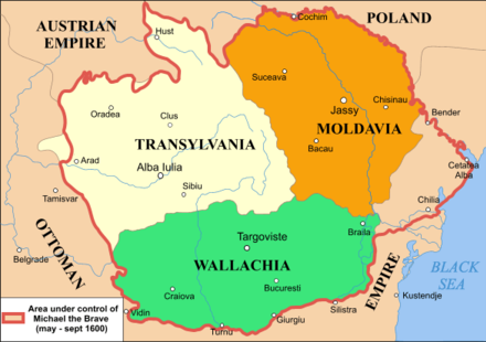 In 1600, Michael the Brave became Prince of Wallachia, of Transylvania, and of Moldavia Mihai 1600.png
