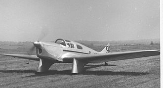 Miles Falcon - Miles M.3D Falcon Six G-ADTD wearing racing colours at Leeds (Yeadon) Airport in May 1955