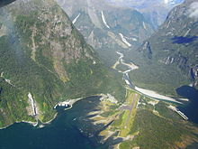 Milford Sound Airport -from an aircraft-18Feb2008.jpg