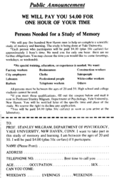 Milgram experiment advertisement, 1961. The US $4 advertised is equivalent to approximately start year=1961 USD today.