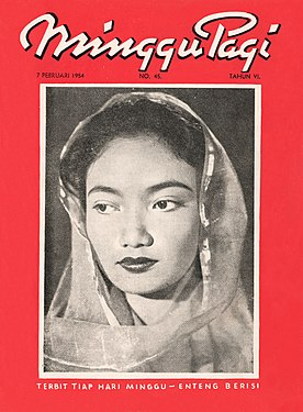 Scan of Minggu Pagi's cover depicting Lies Noor in the center, a thin translucent veil framing her face