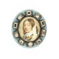 Miniatyrporträtt Karl X Gustav runt om tio taffelslipade dickstenar - Livrustkammaren - 97886.tif