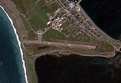 Vue aérienne de l'aérodrome.