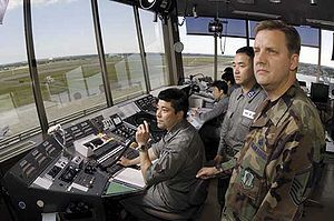 Controllers survey the field at Misawa Air Bas...