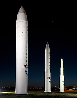 A static display of intercontinental ballistic missiles at F.E. Warren AFB during 2012. From left are the Peacekeeper, the Minuteman III and the Minuteman I.