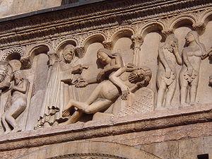 Wiligelmo - Adam and Eve, Duomo di Modena.