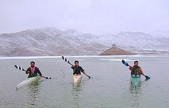 Hanna Lake - Pakistan National K1 Champion Mohammad Abubakar Durrani with Kayak paddlers heroes of Pakistan in snow kayak training 2012 (Hanna Lake)