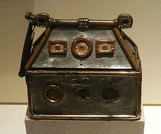 Constantine II of Scotland - The cult of Saint Columba and its relics were associated with victory in battle. The Cathbuaid, Columba's crozier or staff, has been lost but the 8th-century Breccbennach or Monymusk Reliquary shown here, which held relics of Columba, is known to have been carried into battle from the reign of King William I onwards.