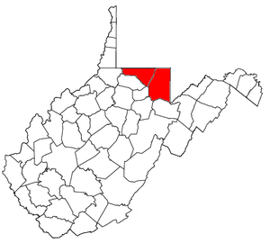 Morgantown metropolitan area - Map of West Virginia highlighting the Morgantown Metropolitan Statistical Area.