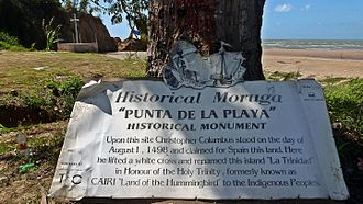 Moruga - Moruga - Columbus historical monument. Columbus landed here on his third voyage in 1498. This is on the southern coast of the island of Trinidad, West Indies. the sea in the background is named the Columbus channel. it separates the island of Trinidad from Venezuela