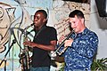 Mozambican musician Abacilar Simbine plays saxophone and U.S. Navy Musician 2nd Class Michael Caracciolo, with the U.S. Naval Forces Europe Band ensemble Flagship, plays trumpet at the Mozambique Musicians 120609-N-UG232-398.jpg