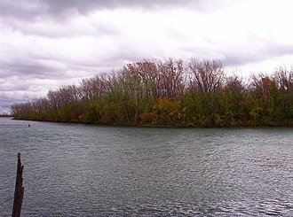 Detroit River - Much of the lower portion of the river (Mud Island pictured) is now part of the Detroit River International Wildlife Refuge.