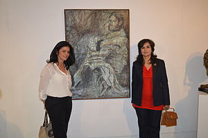 "Celia Calderón - Visitors with ""Mujer Chamula"" at an event at the Salón de la Plástica Mexicana"