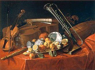 Cristoforo Munari - Still life with musical instruments and fruit (ca. 1703-1706).